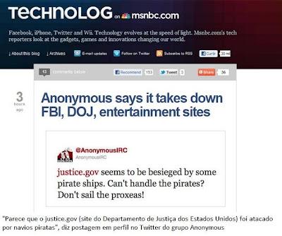 Hackers atacam site do Departamento de Justiça do E.U.A