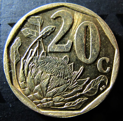 Reverse of 2013 South Africa 20 Cents, Venda Legend, denomination, flower