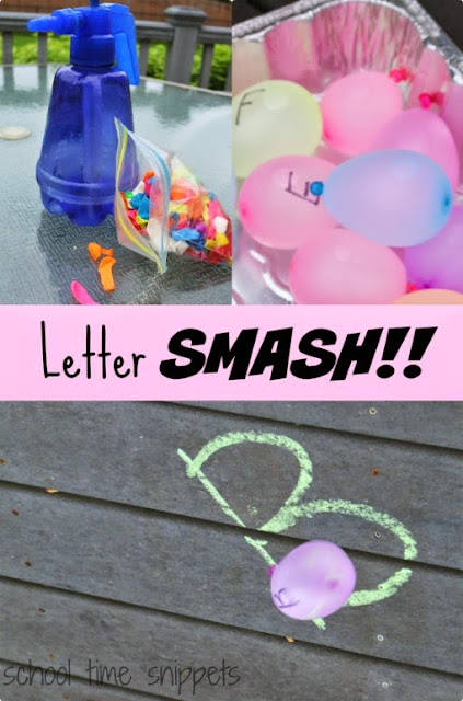 Outdoor water play for preschoolers: Learning the alphabet with water balloons