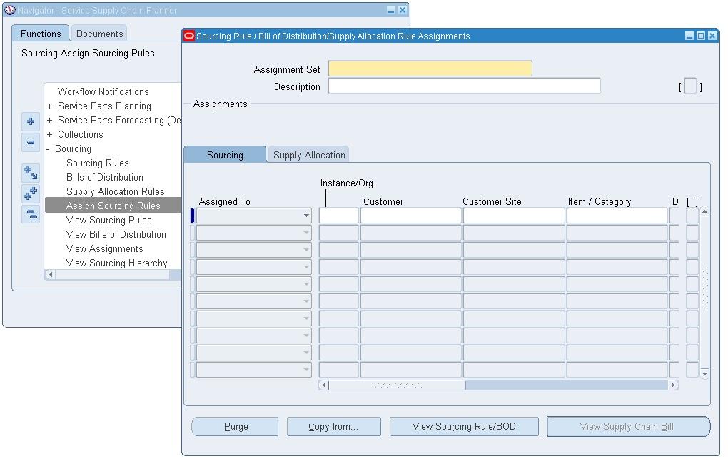 Value Chain Planning Service Parts Setup