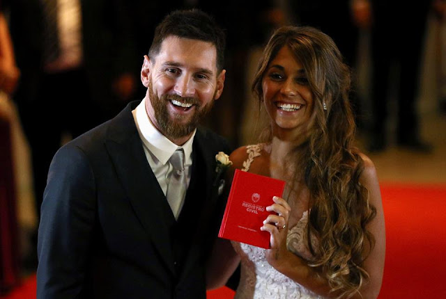 "Barcelona's Argentine football star Lionel Messi's ""wedding of the century"