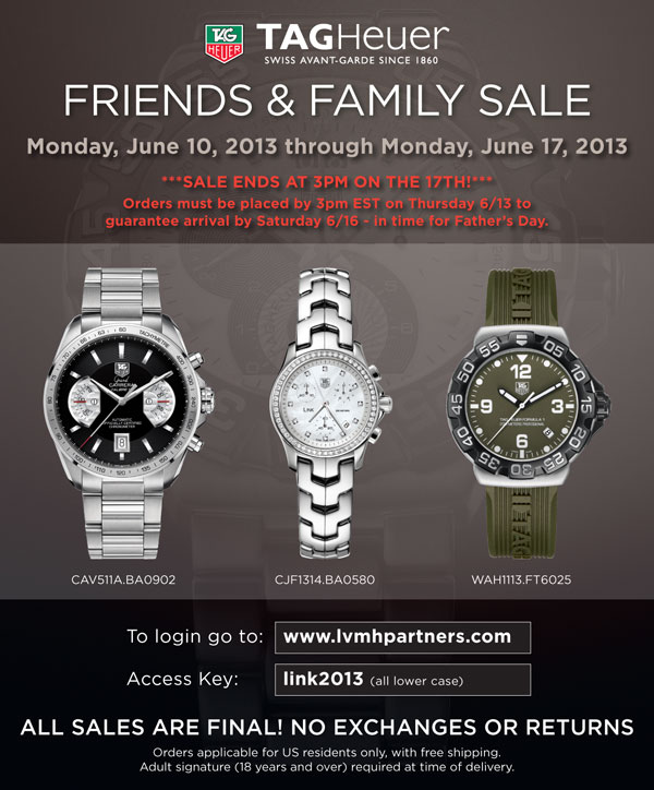 Tag Watches For Sale >> Madison Avenue Spy Lvmh Tag Heuer Friends Family Sale