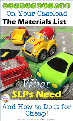 The materials SLPs need for preschool speech therapy plus how to get them for cheap! www.speechsproutstherapy.com  #speechsprouts  #speechtherapy #preschool  #speechtherapymaterials #speechtherapytoys