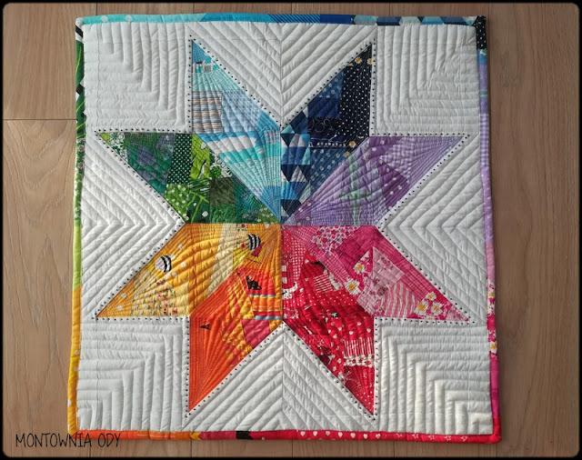 Tęczowa gwiazda czyli nieduży quilt na ścianę