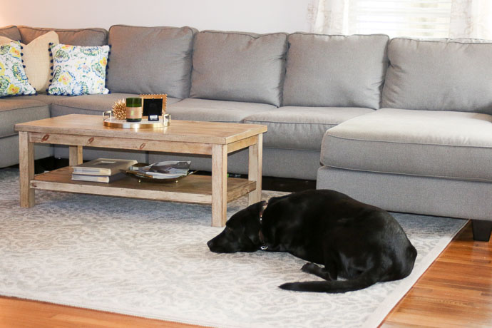 girl(ish), ashley furniture gray couch, farmhouse coffee table, mom blog, mom blogger, lifestyle blog