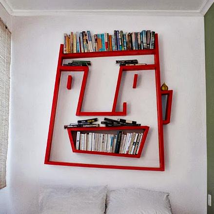 Kumpulan Gambar Rak Buku Dinding Minimalis Kreatif Dan Modern -Rak Buku Dinding Berbentuk Karakter Wajah