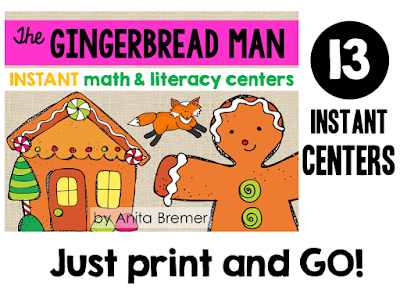 Fun Gingerbread Man themed math and literacy center activities for Kindergarten and 1st Grade! Includes practice with letter recognition, sounds, rhyme, syllables, counting,  measurement, number words, ten frames, number recognition, addition, and more. Common Core aligned. Packed with fun literacy ideas and hands on activities for Kindergarten and First Grade centers at Christmas. #kindergarten #literacy #kindergartencenters #1stgrade #centers #alphabet #phonics #literacycenters #christmascenters #gingerbreadman #mathcenters #kindergartenmath #1stgrademath