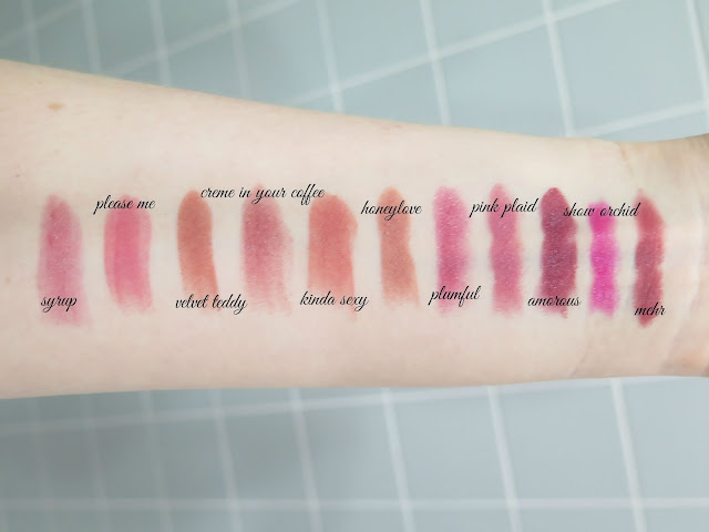 MAC lipstick swatches