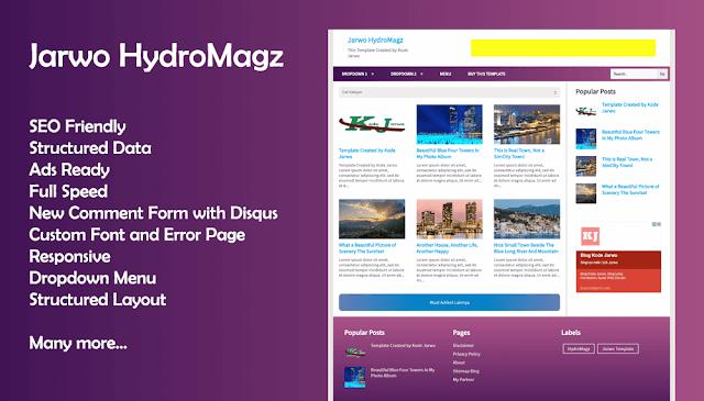 Jarwo HydroMagz Free Blogger Template