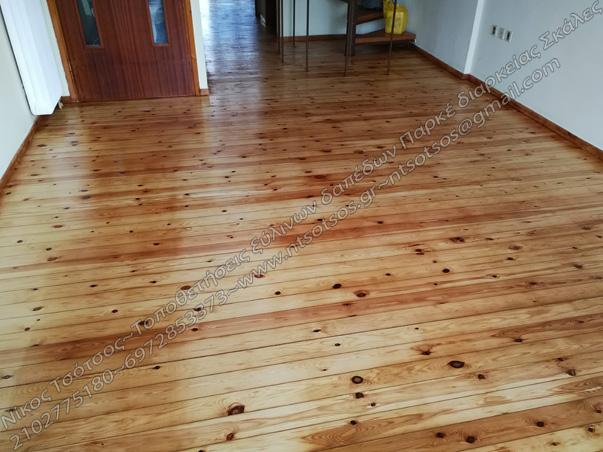 Τρίψιμο και γυάλισμα σε σουηδικό ξύλινο πάτωμα