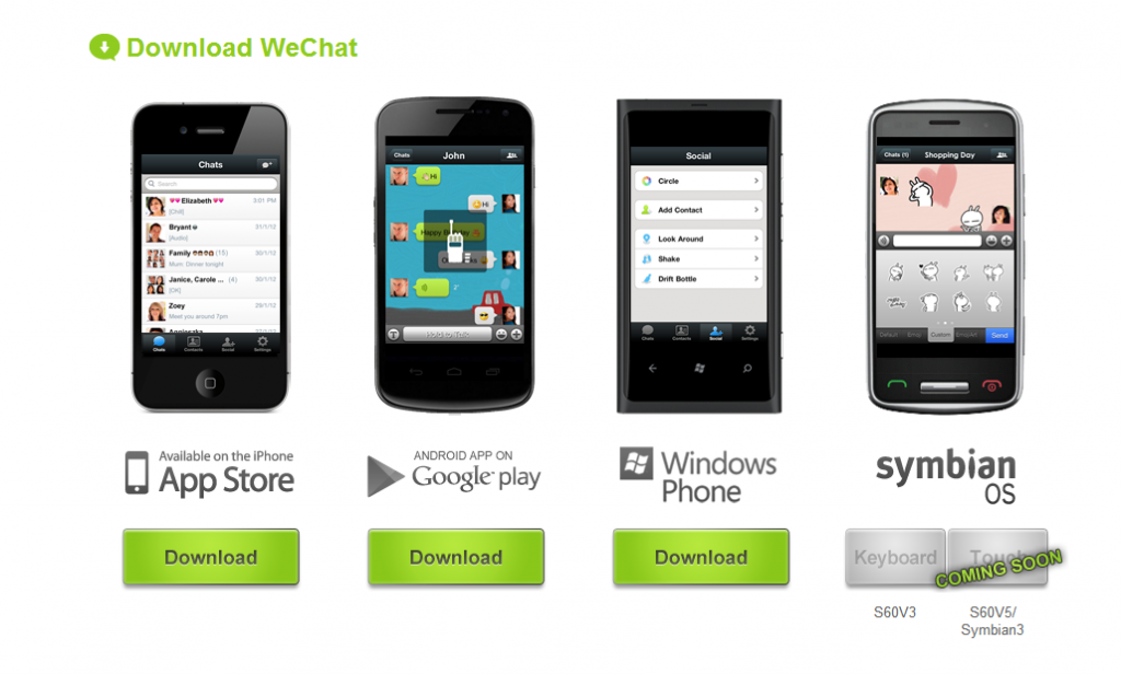 WeChat está disponible para Android, iPhone, ipad, BlackBerry, Windows Phone, Symbian s40 y s60 y PC. Admite chat grupal, voz, foto, video y mensajes de texto,  para el celular, para celulares, aplicaciones, aplicación