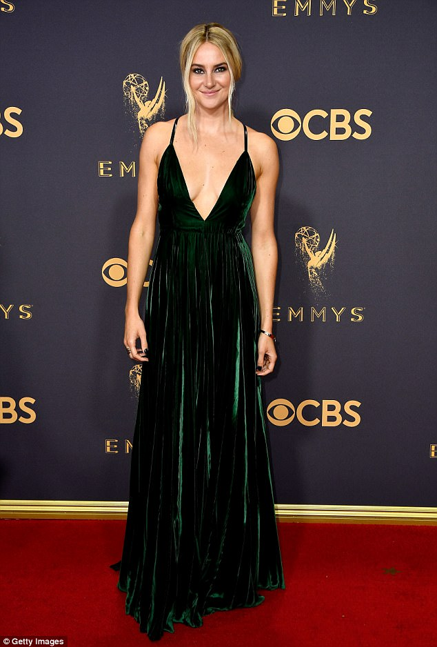 Shailene Woodley allures in plunging gown at the 2017 Emmy Awards