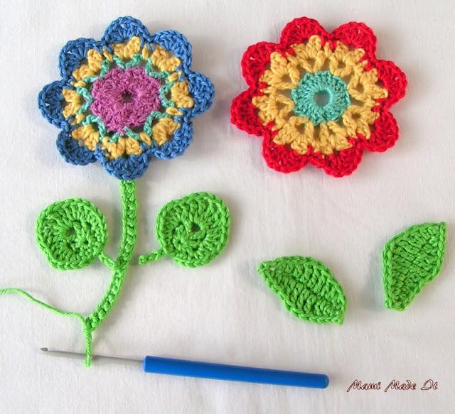 Crochet Flowers and No Chain Crochet - Häkelblume und Häkeln ohne Luftmaschen