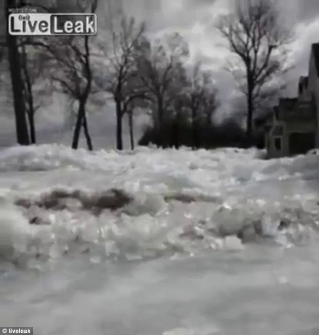 Dangerous: Winds reached up to 40 miles per hours to push the ice sheets ashore in Minnesota
