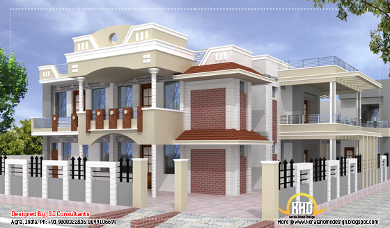 Indian home design - 5100 Sq. Ft. - View 1(474 Sq.M.) (567 Square Yards) - April 2012