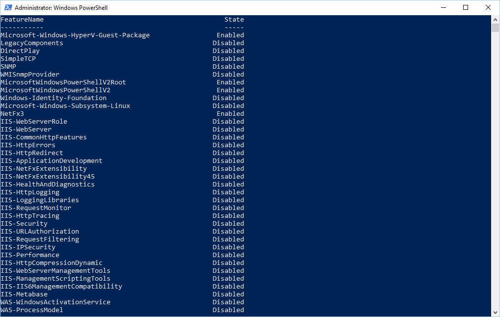 Sử dụng PowerShell bật hoặc tắt tính năng của Windows