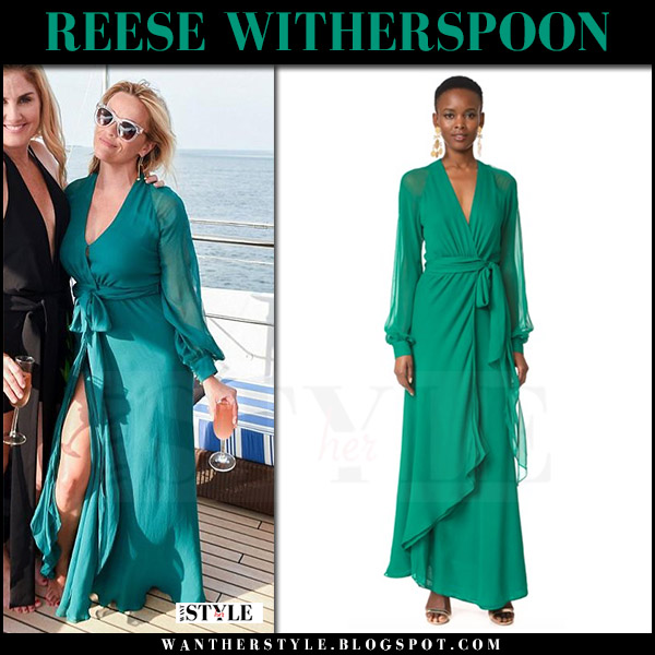 Reese Witherspoon in green maxi wrap dress haney hamptons july 21 2017 celebrity summer style