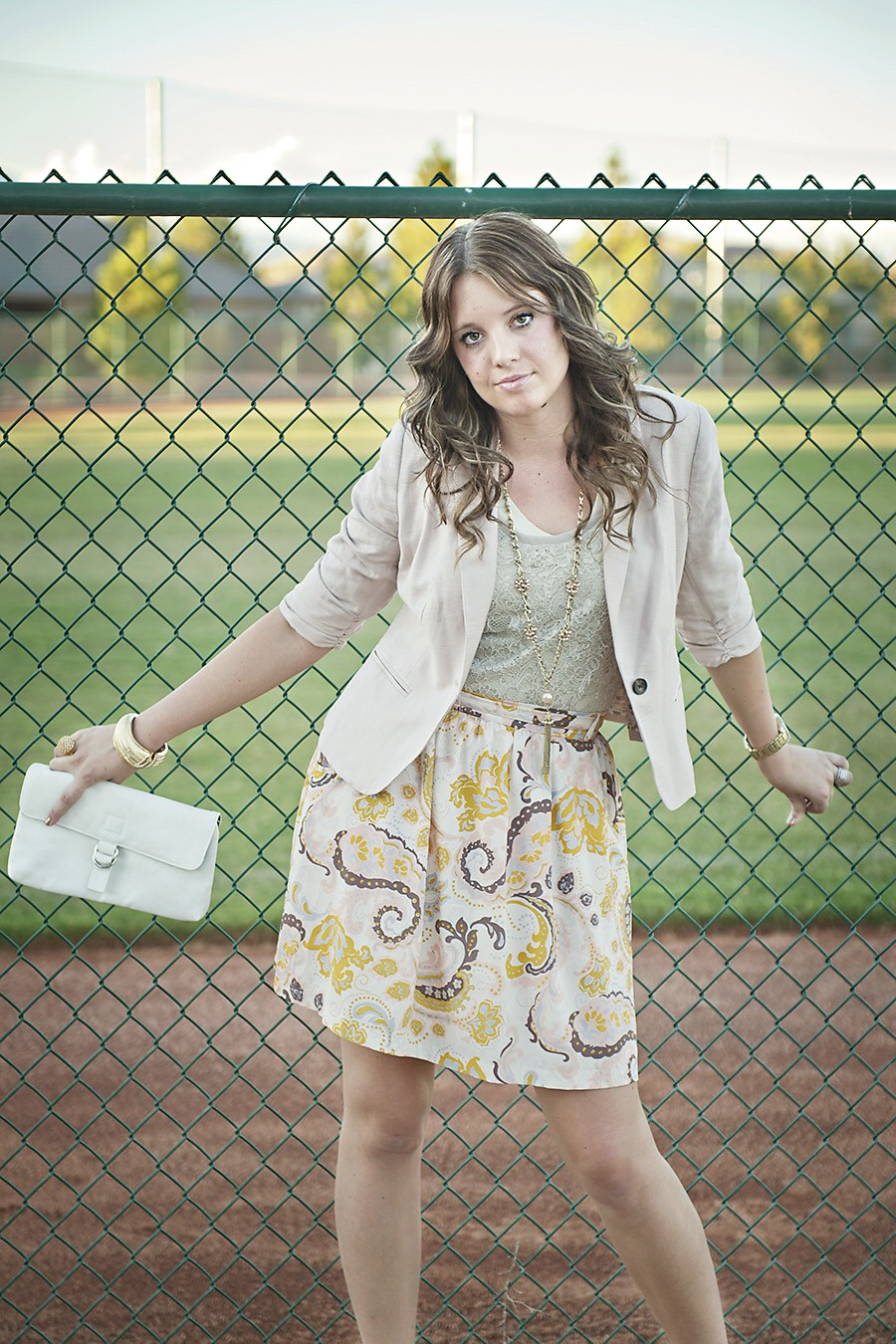 Cream Blazer, Floral Skirt