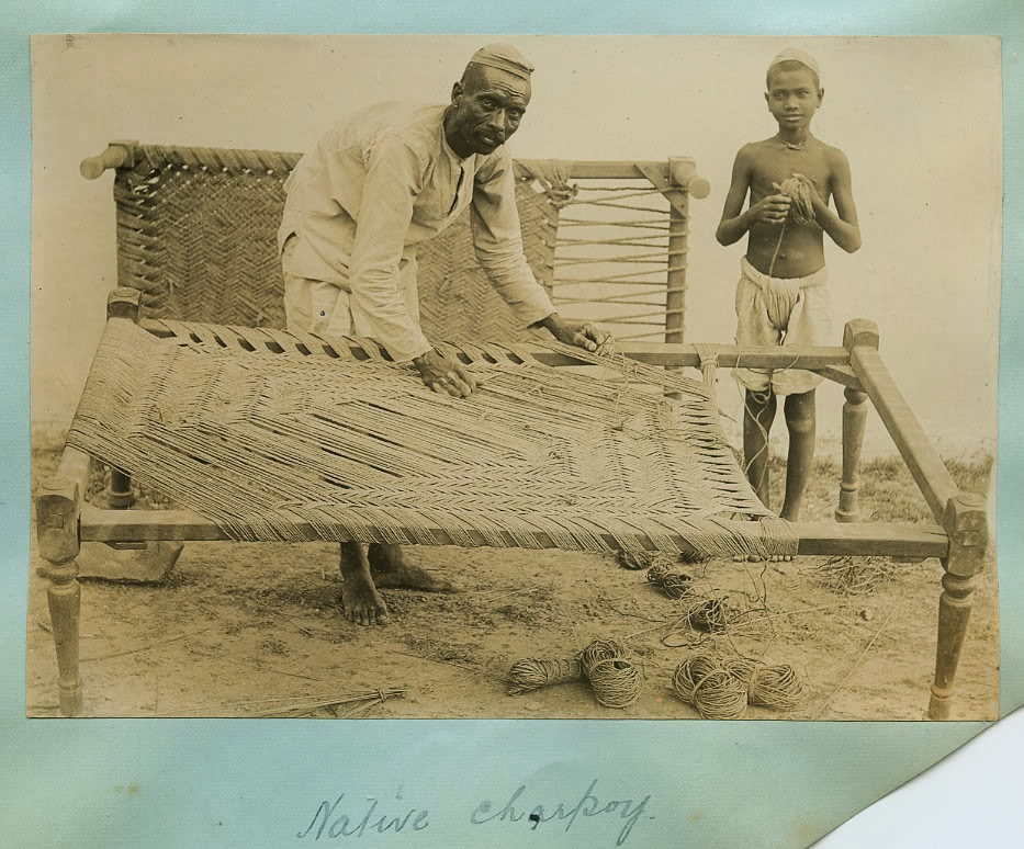 Charpoy (Indian Bed) being Strung or Restrung - c1900