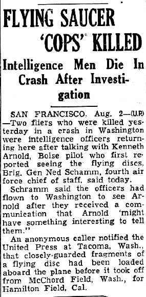 Flying Saucer Cops Killed – The Sunday Star News 8-3-1947