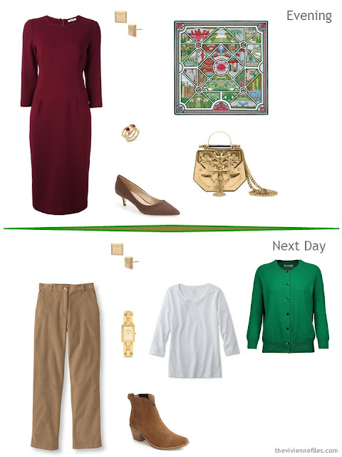 2 outfits taken from a Tote Bag Travel plan in Camel, Green and Burgundy