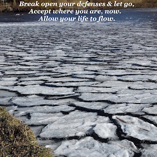 Image of white broken ice on the survice of water with the text: Break open your defenses and let go, accept where you are, now. Allow your life to flow.