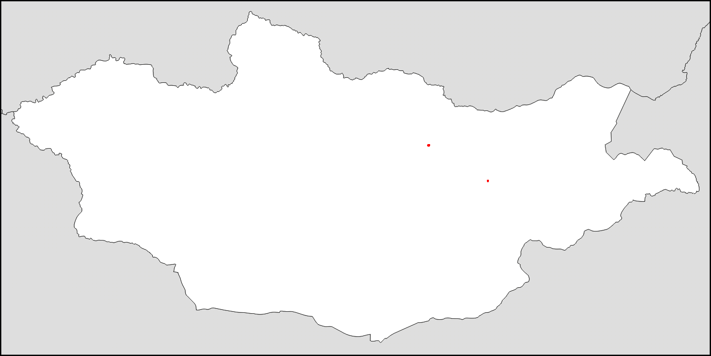 Half the population of Mongolia lives in the two red dots