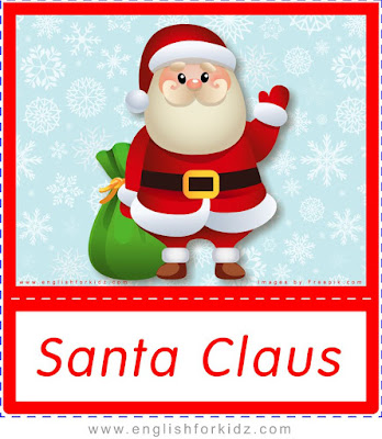 Santa Claus, free printable Christmas flashcards for ESL