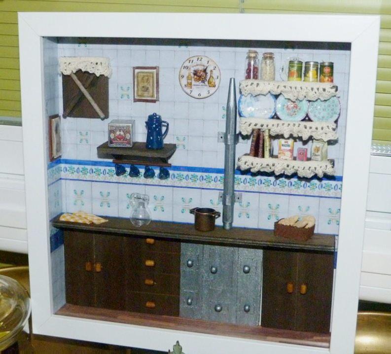 Cuadro con escena de cocina en miniatura isabel vintage - Cuadros cocina vintage ...