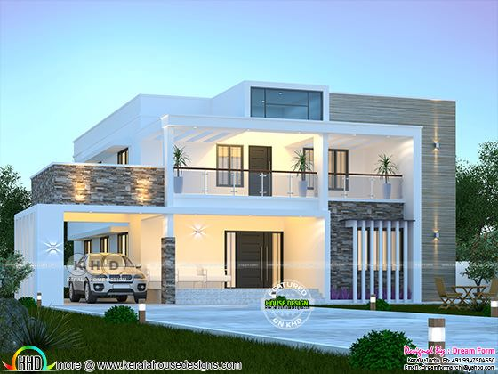 4 bedroom modern flat roof house architecture rendering