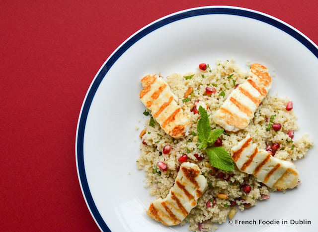 Halloumi, pomegranate and mint couscous salad, recipe. food blog
