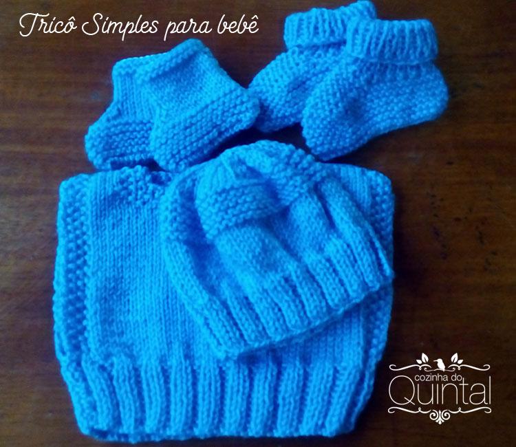 Tricô simples para bebê na Cozinha do Quintal