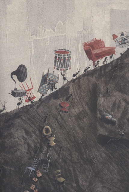 Otra ilustración de la ilustradora belga Kaatje Vermeire para el libro La Pregunta del Elefante