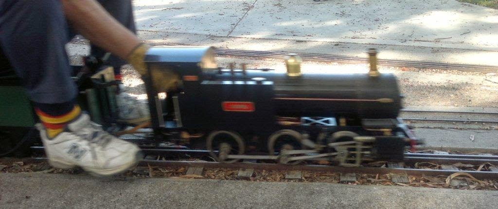 Small gauge locomotive - a very blurry photograph because the loco was moving too quickly!