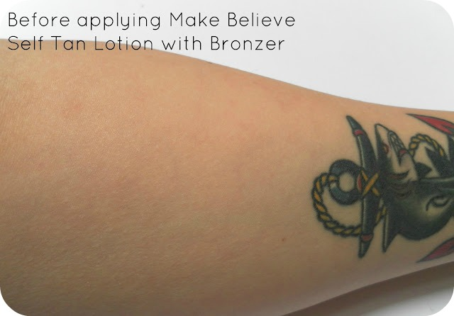 Before applying Make Believe Self Tan Lotion with Bronzer Golden Tan Zone 4