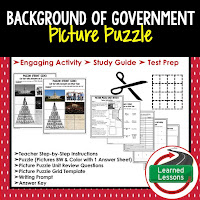 Background of Government, Civics Test Prep, Civics Test Review, Civics Study Guide, Civics Interactive Notebook Inserts, Civics Picture Puzzles