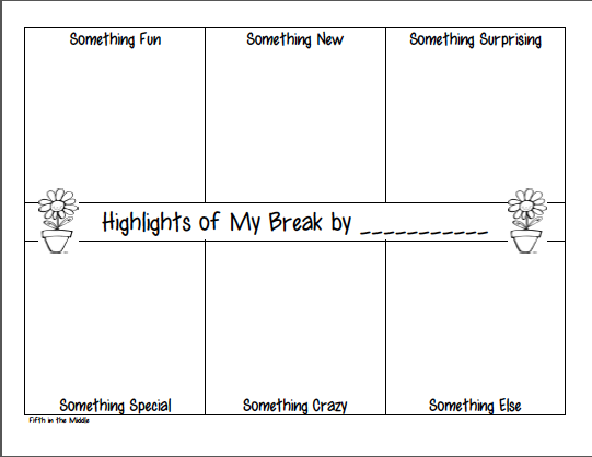 Graphic organizer for sharing spring break activities
