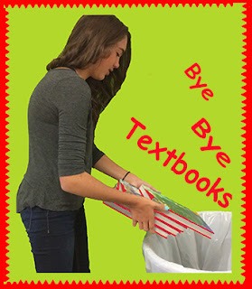 A teacher throws away her textbooks into the garbage preferring to use her own materials instead/