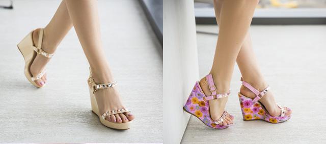Sandale cu platforma elegante de vara ieftine roz, bej