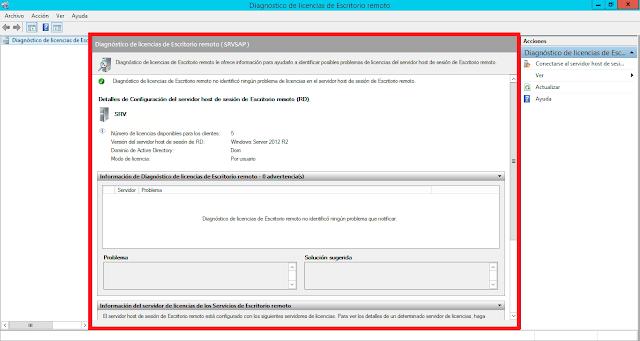 Diagnóstico de licencias de Escritorio remoto no identificó ningún problema de licencias en el servidor host de sesión de Escritorio remoto.