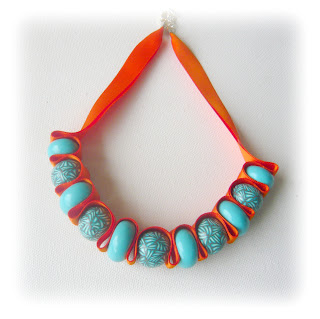 quoise & Tangerine Ribbon Necklace handmade from polymer clay