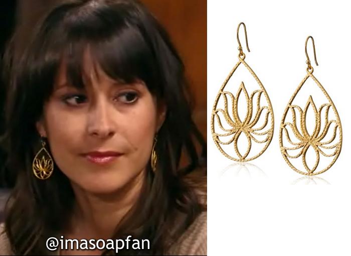 Robin Scorpio-Drake, Kimberly McCullough, Gold Teardrop Lotus Earrings, General Hospital, GH