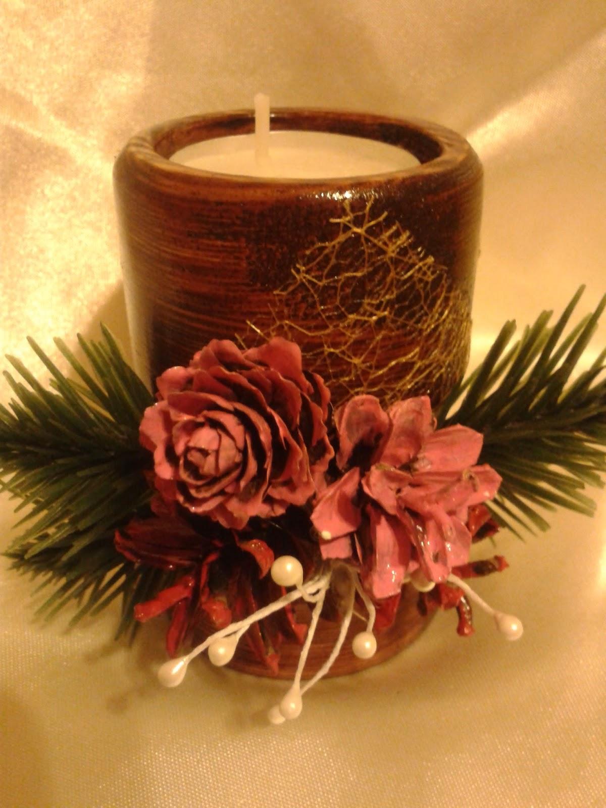 Drewniany świeczik ozdoba świąteczna