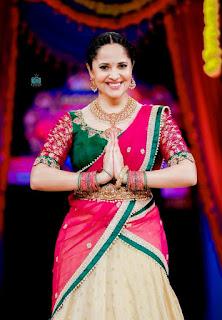 Telugu Television Actress Anasuya Latest Picture shoot In red lehenga Choli (2)