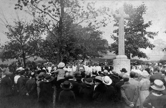 Postcard of the dedication of the North Mymms War Memorial in the 1920s Image from the NMLHS