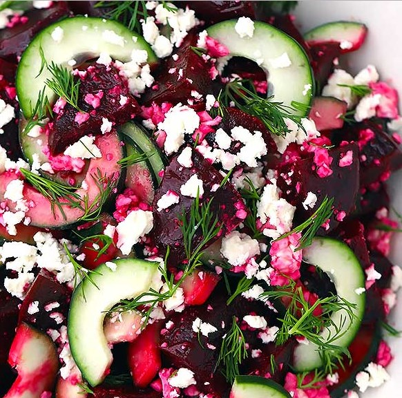 BEET SALAD WITH FETA, CUCUMBERS, AND DILL #vegetarian #healthysalad