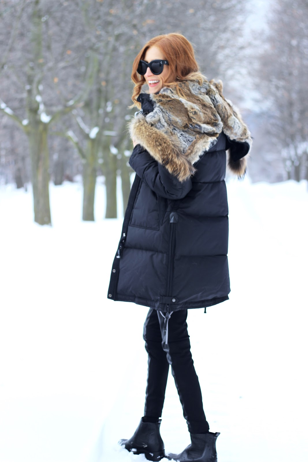 Parajumpers Womens Long Bear parka, Cougar COPE boots, Canadian Winter
