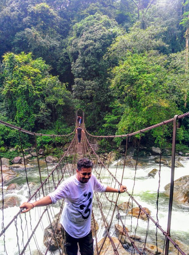Action packed hike across swaying steel rope bridges to Nongriat village, Meghalaya