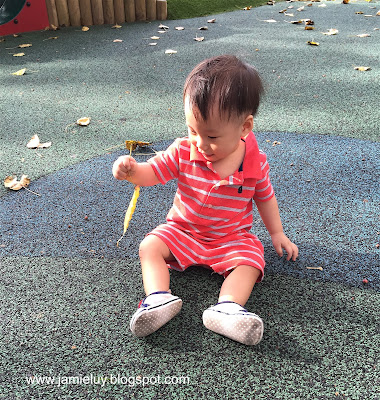 Baby Lance Playing with Leaves at the Playground