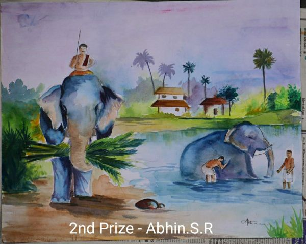 Abhin S. R Wins Second Prize in Painting Contest by Kerala Forest Department